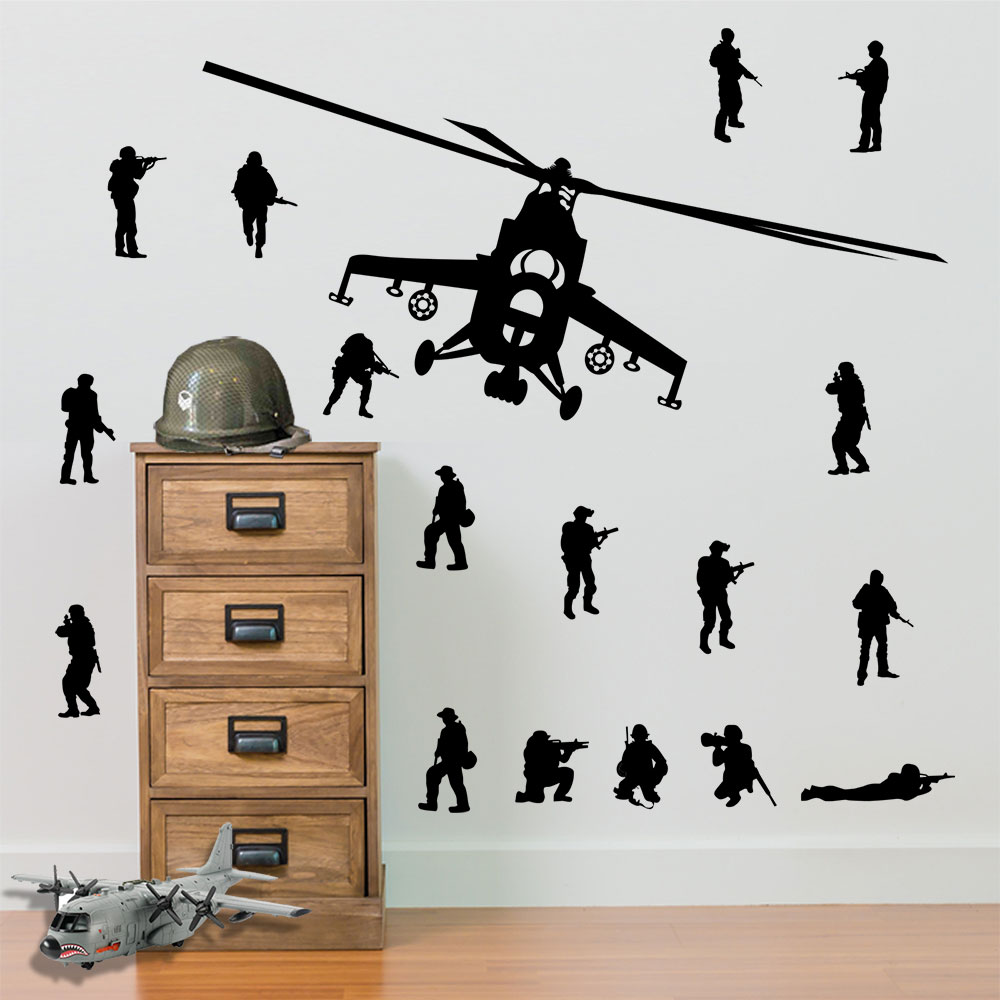 army soldiers helicopters and 17 x army men military wall