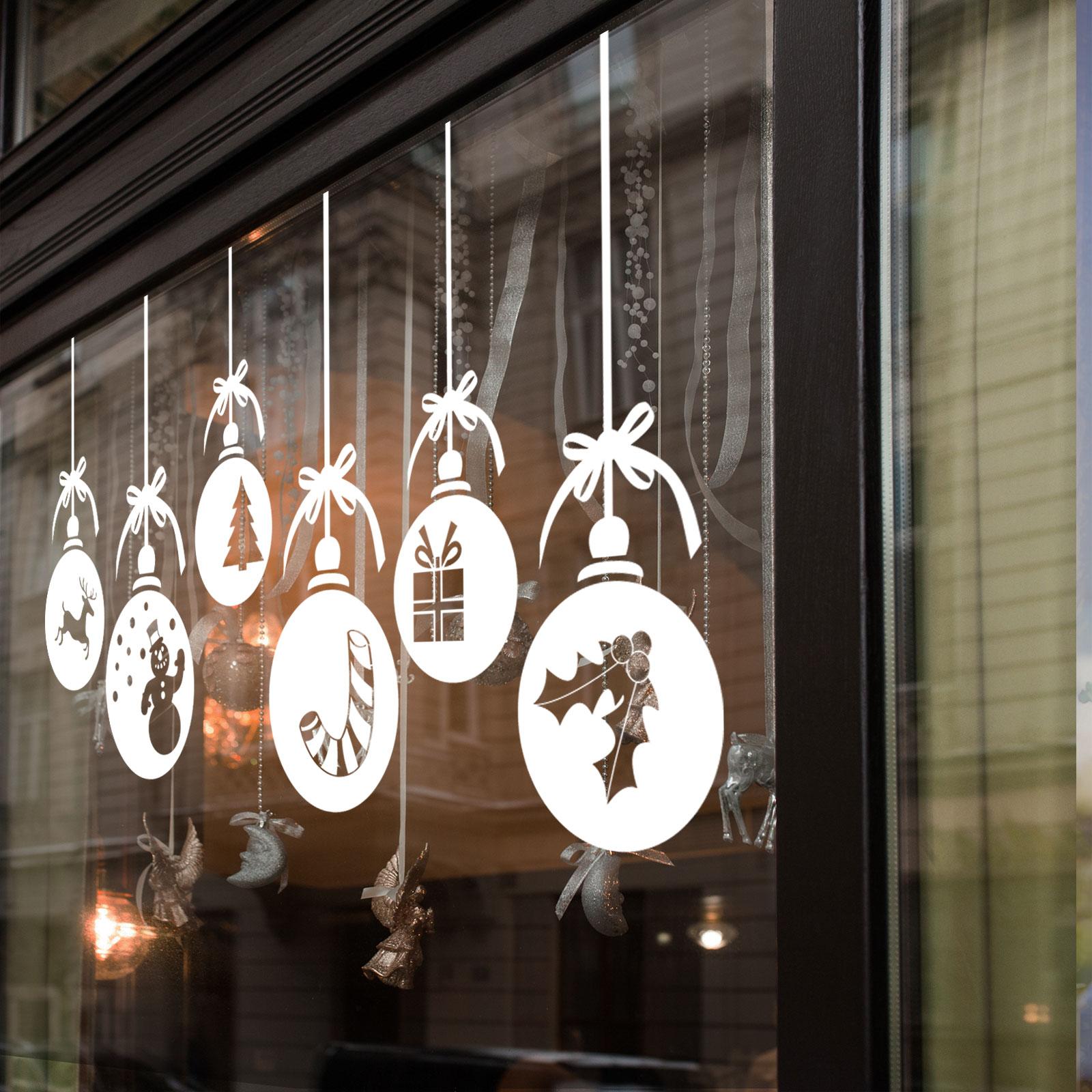 Christmas Xmas Baubles Shop Window Wall Decorations Vinyl